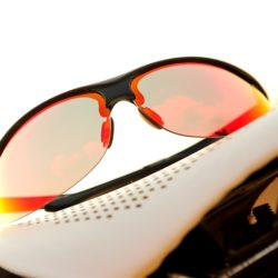 isolated red sunglasses for cycling